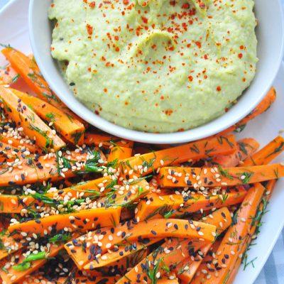 Carrot Sticks and Green Bean Mayo Dip