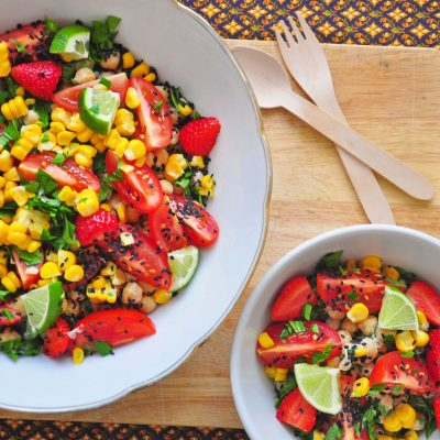 Chickpea Strawberry and Sweetcorn Salad