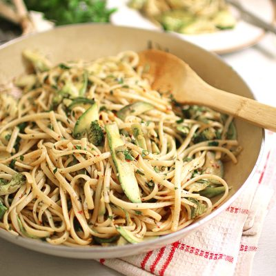 Courgette and Broccoli Linguine