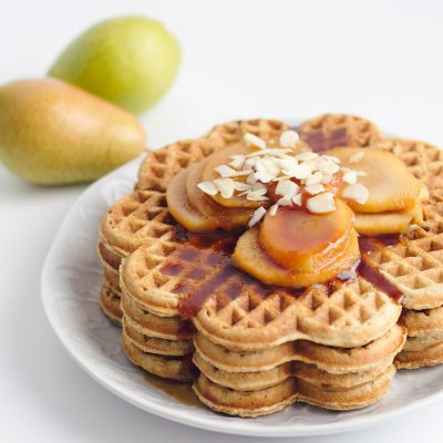 Oat Waffles with Poached Pear