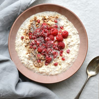 Creamy Oats with Summer Fruits and Peanut Butter