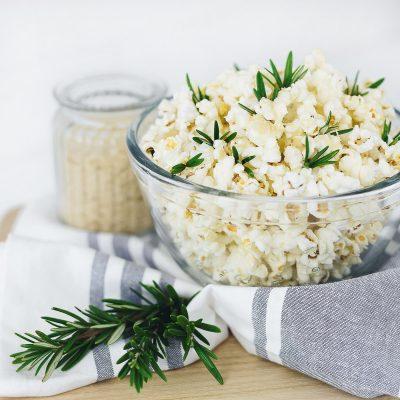 Rosemary and Vegan Parmesan Popcorn