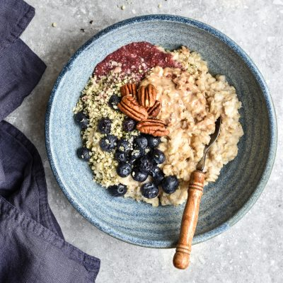 Creamy Oats with Chia Jam and Pecans